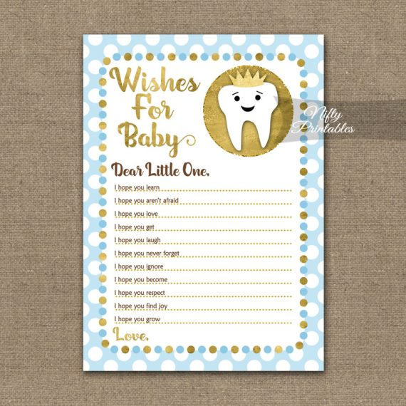 Wishes For Baby Shower Game - Tooth Dental Blue Gold