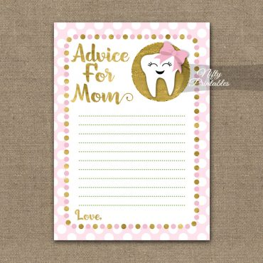 Advice For Mommy Baby Shower Game - Tooth Dental Pink Gold