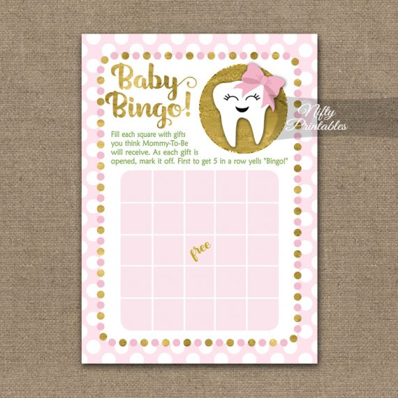 Baby Shower Bingo Game - Tooth Dental Pink Gold