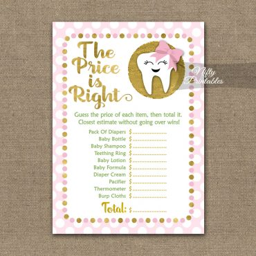 Price Is Right Baby Shower Game - Tooth Dental Pink Gold