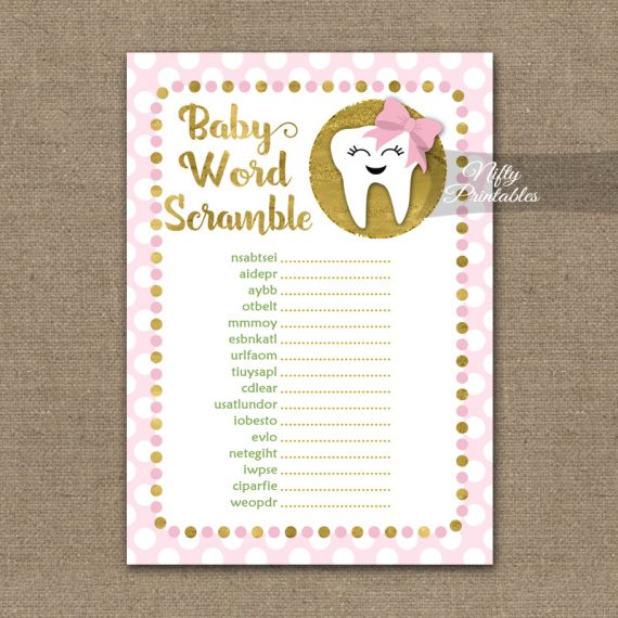 Baby Shower Word Scramble Game - Tooth Dental Pink Gold
