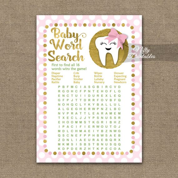 Baby Shower Word Search Game - Tooth Dental Pink Gold