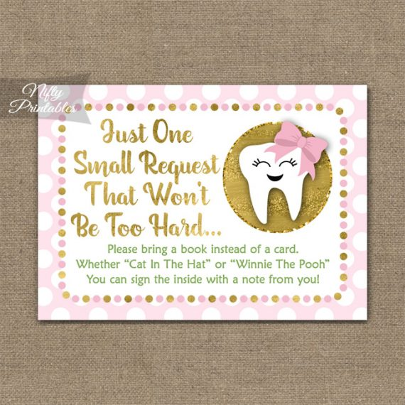 Bring A Book Baby Shower Insert - Tooth Dental Pink Gold