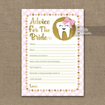 Bridal Shower Advice Cards - Tooth Dental Pink Gold