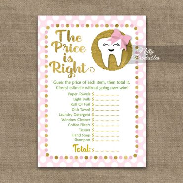Price Is Right Bridal Shower Game - Tooth Dental Pink Gold