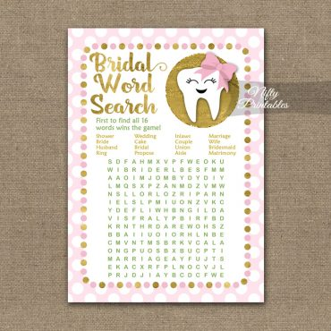Bridal Shower Word Search Game - Tooth Dental Pink Gold