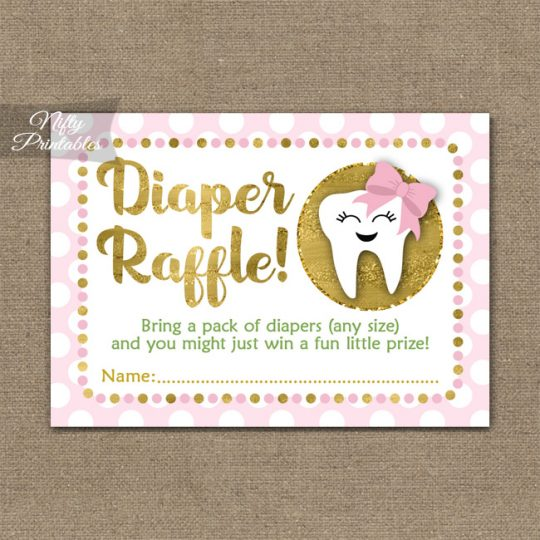 Diaper Raffle Baby Shower - Tooth Dental Pink Gold