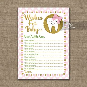 Wishes For Baby Shower Game - Tooth Dental Pink Gold