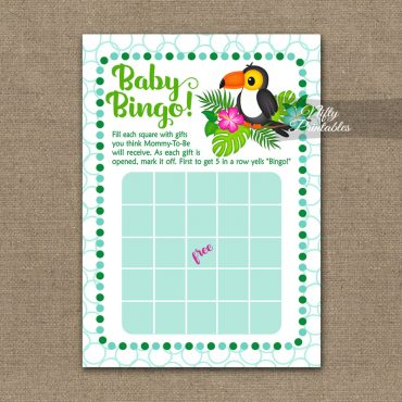 Baby Shower Bingo Game - Tropical Toucan