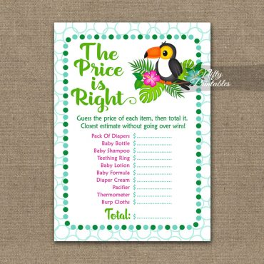 Price Is Right Baby Shower Game - Tropical Toucan