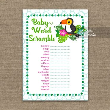 Baby Shower Word Scramble Game - Tropical Toucan