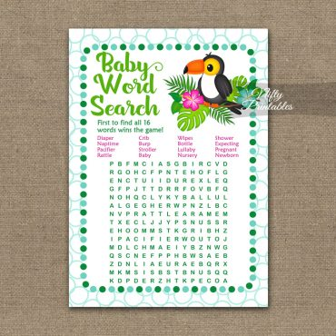 Baby Shower Word Search Game - Tropical Toucan