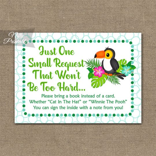 Bring A Book Baby Shower Insert - Tropical Toucan