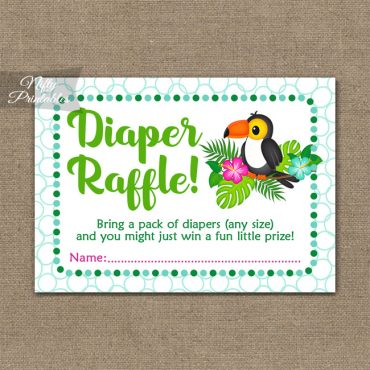 Diaper Raffle Baby Shower - Tropical Toucan
