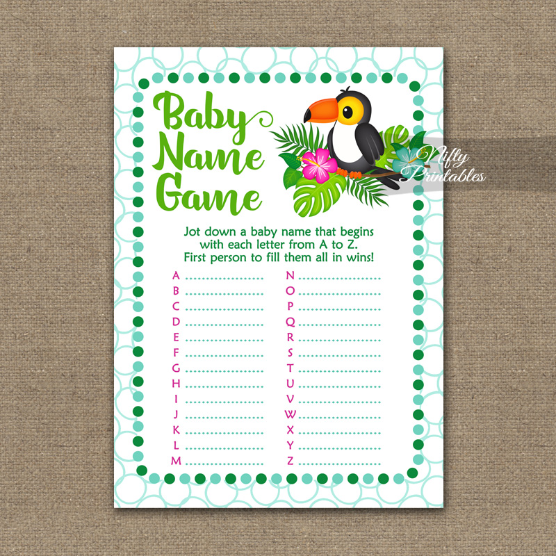 Name Game Baby Shower - Tropical Toucan
