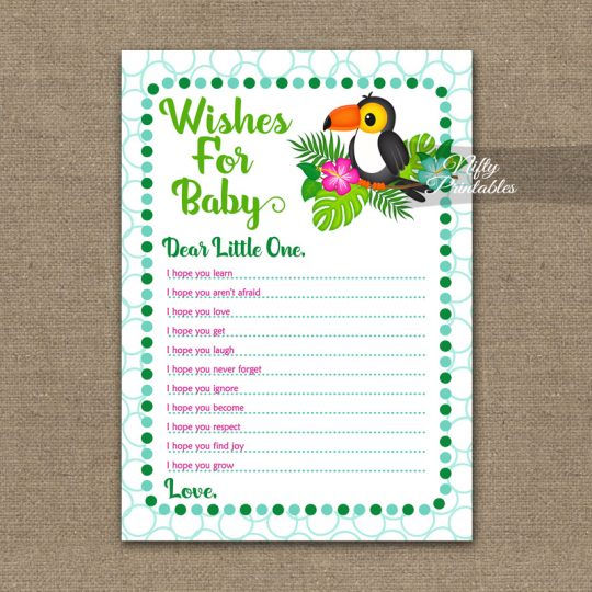 Wishes For Baby Shower Game - Tropical Toucan