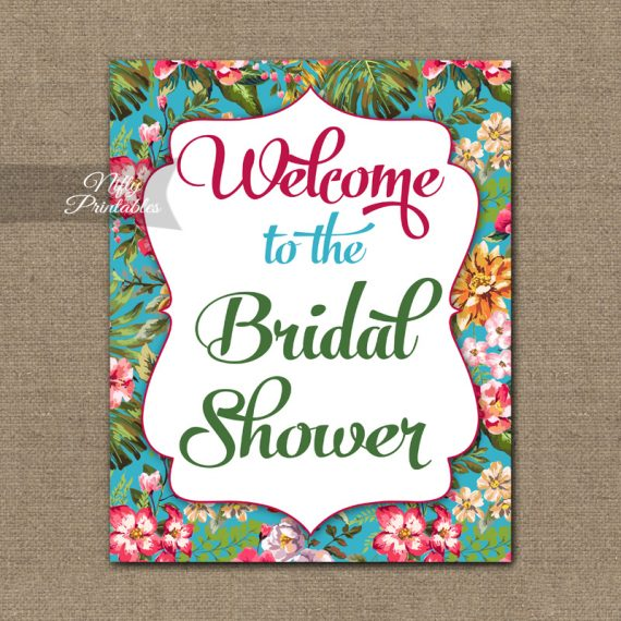 Bridal Shower Welcome Sign - Tropical Floral