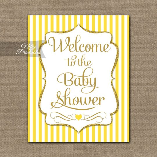 Baby Shower Welcome Sign - Yellow Gold Glitter Stripe