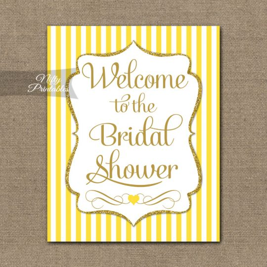 Bridal Shower Welcome Sign - Yellow Gold Glitter Stripe