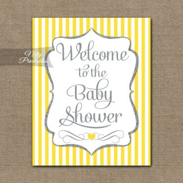 Baby Shower Welcome Sign - Yellow Silver Glitter Stripe