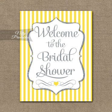 Bridal Shower Welcome Sign - Yellow Silver Glitter Stripe