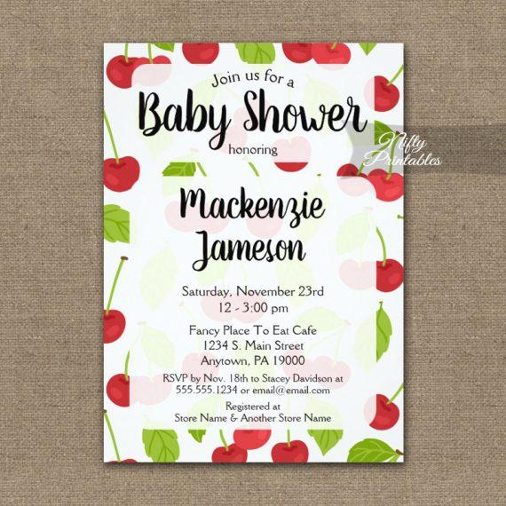 Cherries Baby Shower Invitation PRINTED