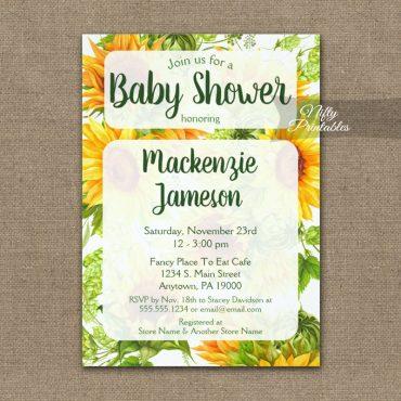 Sunflowers Baby Shower Invitations PRINTED
