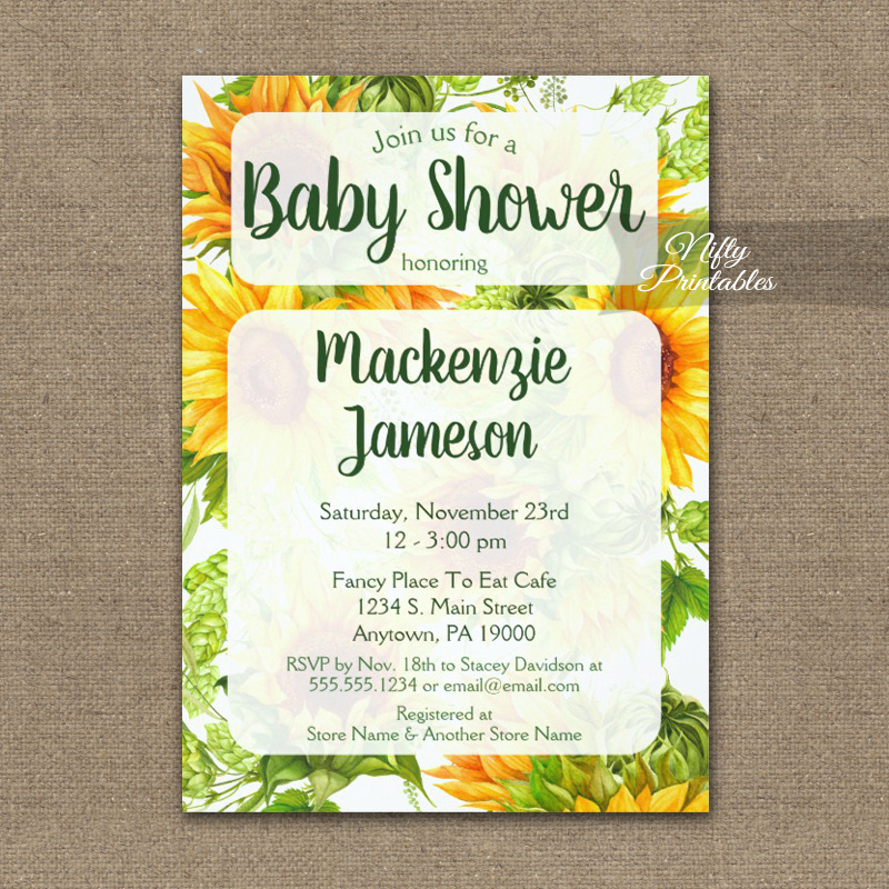 Sunflowers Baby Shower Invitation PRINTED - Nifty Printables