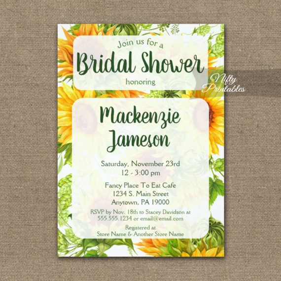 Sunflowers Bridal Shower Invitation PRINTED