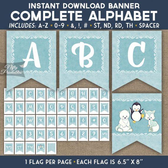 Alphabet Party Banner - Cute Winter Animals