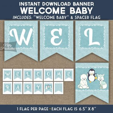 Baby Shower Banner - Cute Winter Animals
