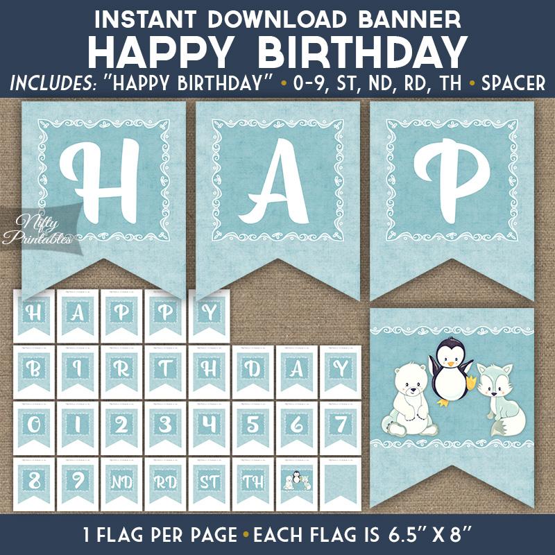 happy birthday banner cute winter animals nifty printables