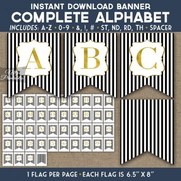 Alphabet Party Banner - Black Gold Stripe