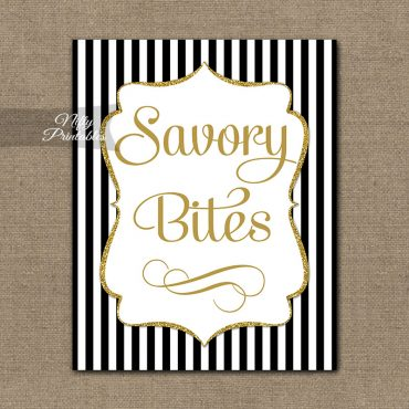 Savory Food Sign - Black Gold Stripe