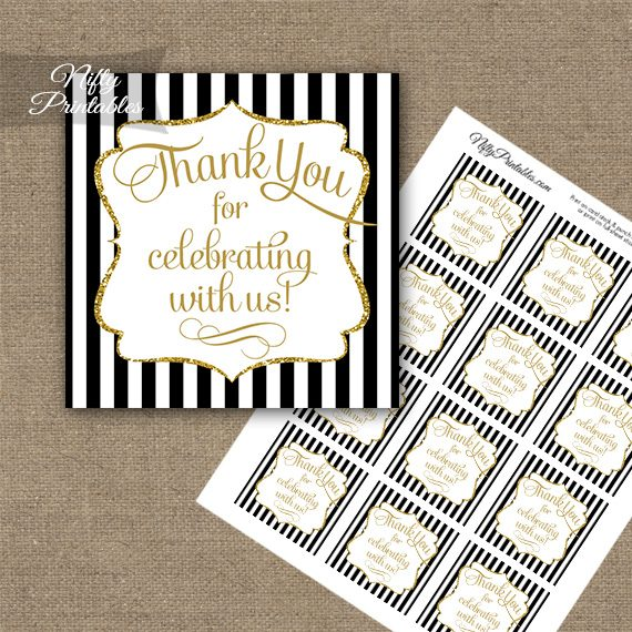 Black White Gold Stripe Thank You Favor Tags