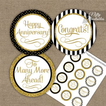 Anniversary Cupcake Toppers - Black Gold Stripe