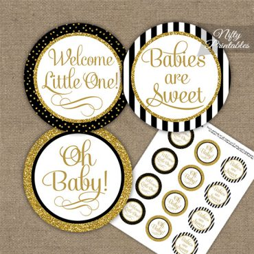 Baby Shower Cupcake Toppers - Black Gold Stripe