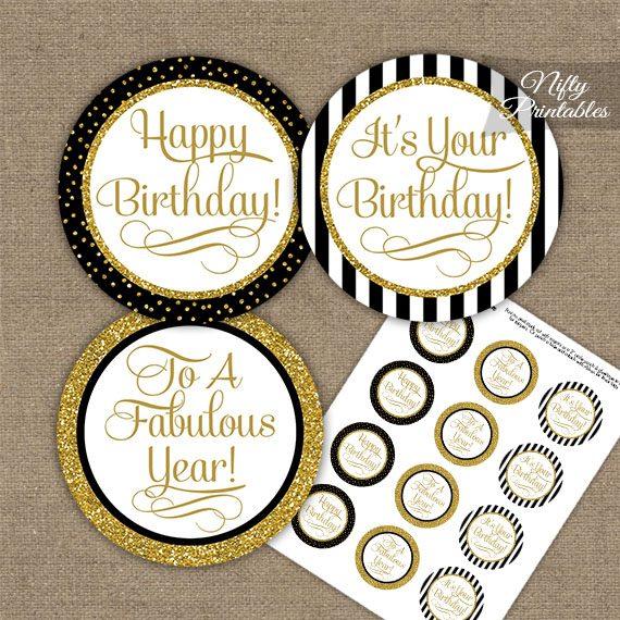 Happy Birthday Cupcake Toppers Black Gold Stripe