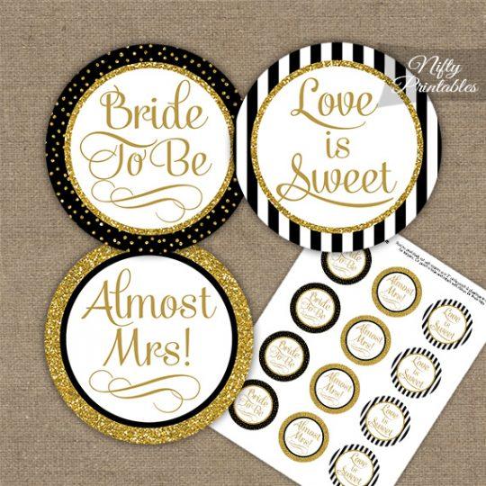 Bridal Shower Cupcake Toppers - Black Gold Stripe