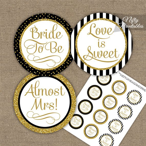Bridal Shower Cupcake Toppers - Black Gold Stripe