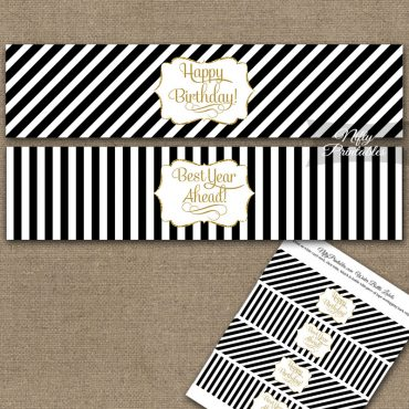 Happy Birthday Water Bottle Labels - Black Gold Stripe