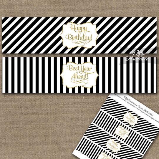 Happy Birthday Water Bottle Labels - Black Gold Stripe