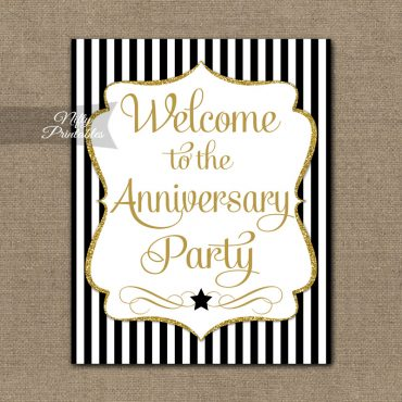 Anniversary Welcome Sign - Black Gold Stripe