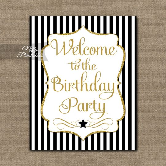 Happy Birthday Welcome Sign - Black Gold Stripe