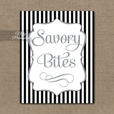 Savory Food Sign - Black Silver Stripe