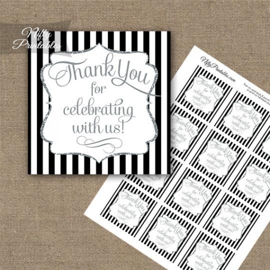 Black White Silver Stripe Thank You Favor Tags