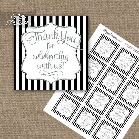 Black White Silver Stripe Thank You Favor Tags