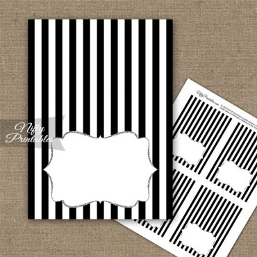Black White Silver Stripe Folded Tent Place Cards