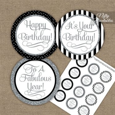 Happy Birthday Cupcake Toppers - Black Silver Stripe