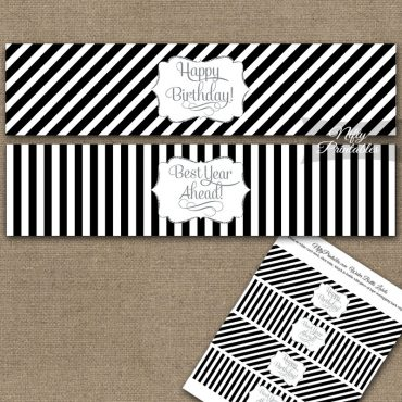 Happy Birthday Water Bottle Labels - Black Silver Stripe